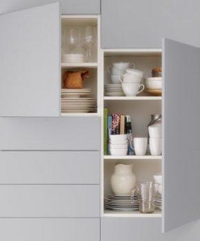 kleine keuken ideeën - keukenkastjes zonder grepen