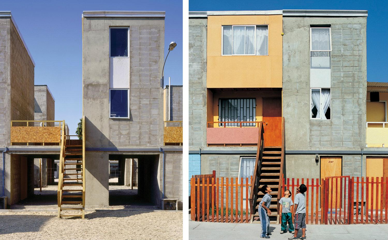 Viviendas Quinta Monroy (2004), Iquique, Chile. A la izquierda: 'Mitad de una buena casa' financiada con dinero público. A la derecha: casa de clase media lograda por sus residentes. Fotografía: Cristobal Palma. Cortesía: Elemental.