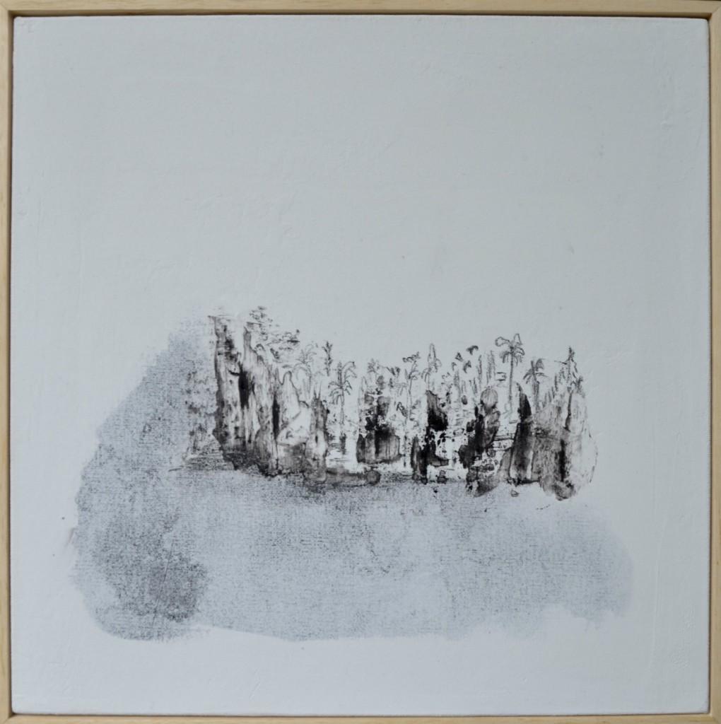 Oleoagua. Dibujo de petróleo crudo y pigmento mineral, de 30 x 30 cm. Fotografía: cortesía Blanca Botero.