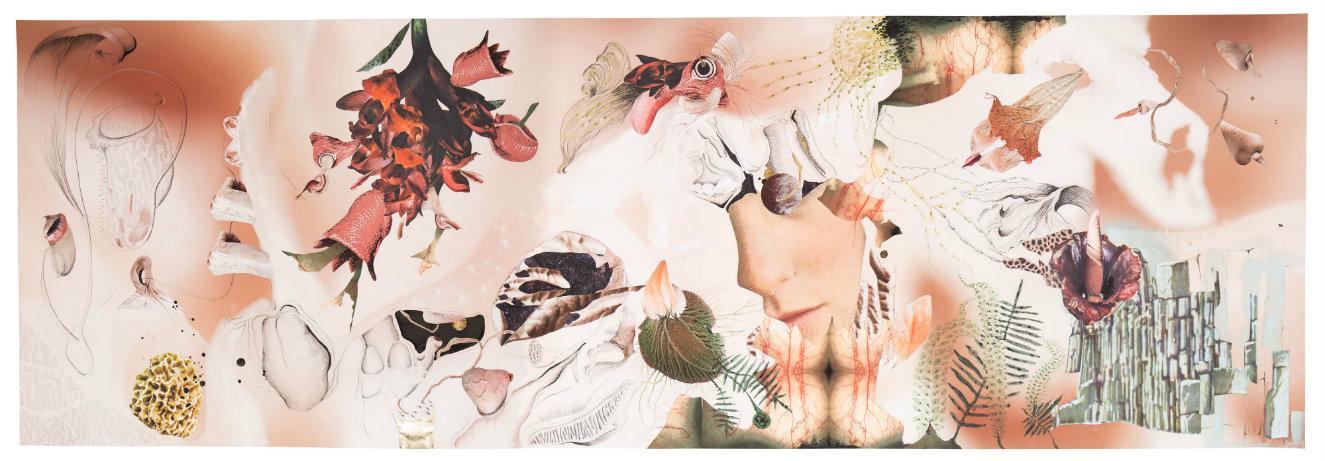 Flora vulgar. Técnica mixta (impresión glicée sobre papel de celulosa, collage, grafito, acuarela y hojilla), 150 x 450 cm. 2016. Fotografía: cortesía, Nueveochenta.