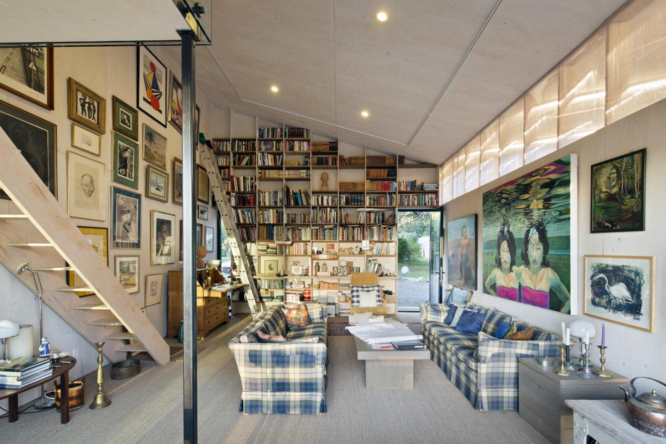 Una de las salas del estudio de los propietario. Fotografía: © Bruce Damonte.