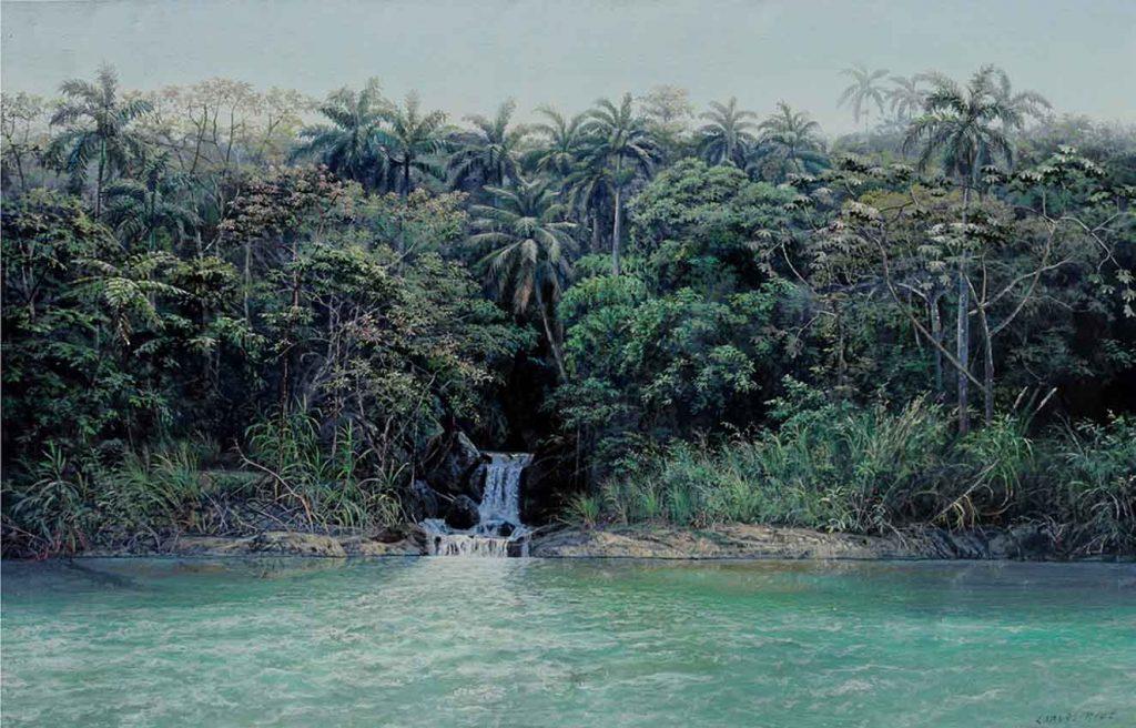 Pequeño tributo al rio, de 100 x 150 cm. Obra de Carlos Ríos, de la galería mexicana Alfredo Ginocchio, en BARCÚ.
