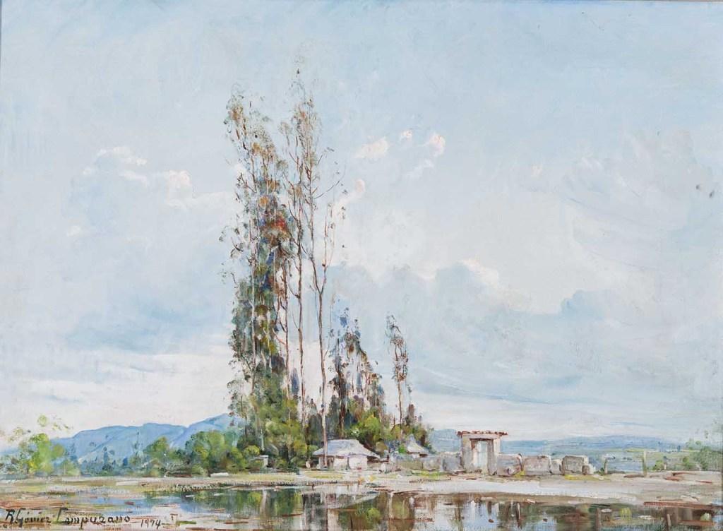 Ricardo Gómez Campuzano. Paisaje sabanero. !974. Óleo sobre lienzo. 66 x 90 cm.
