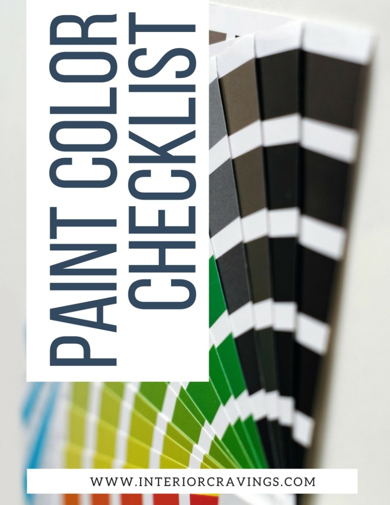 interior cravings PAINT COLOR CHECKLIST cover