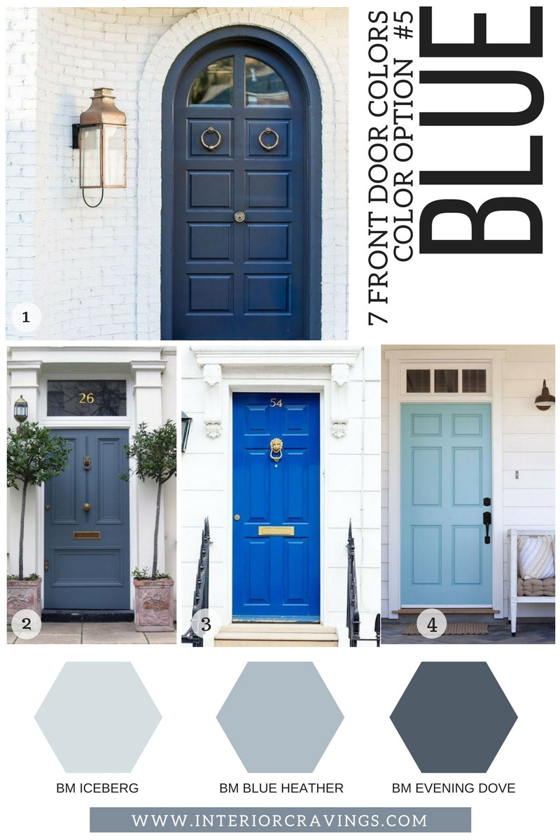7 FRONT DOOR COLORS - blue front doors inspiration and blue paint codes and paint swatches