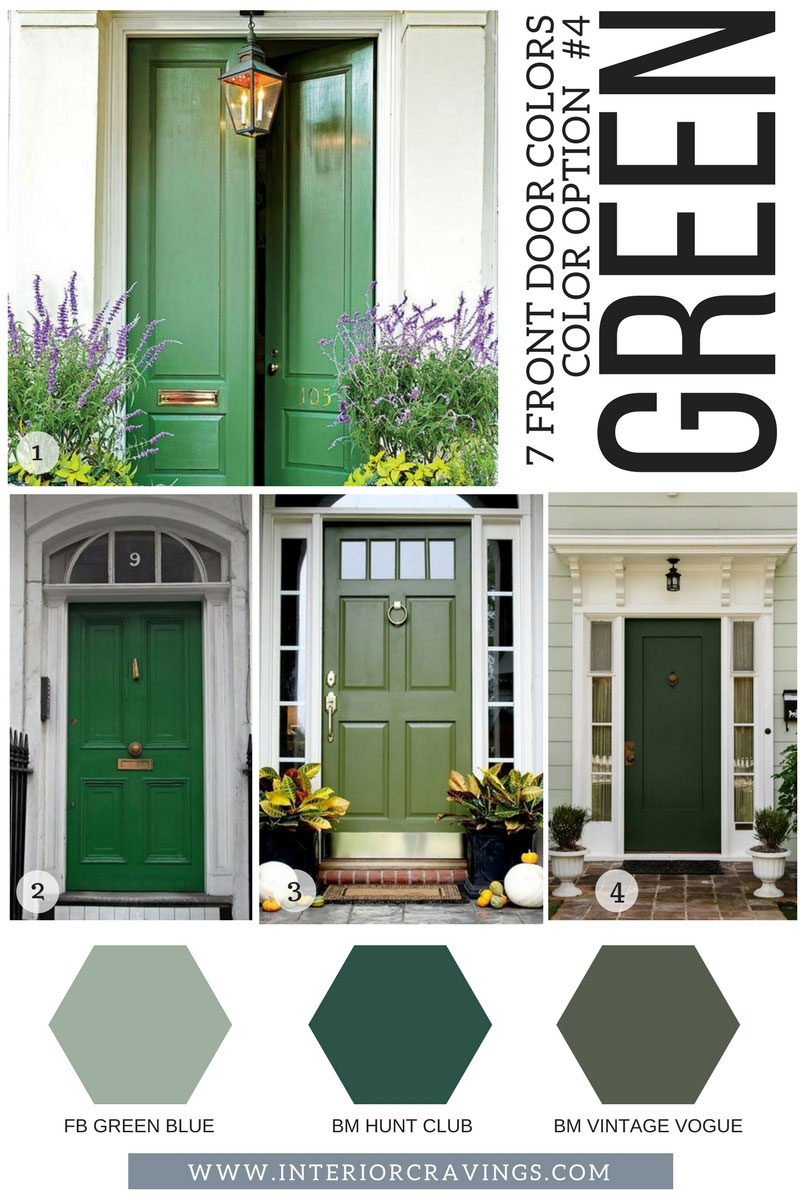 7 FRONT DOOR COLORS - green front doors inspiration and green paint codes and paint swatches & 7 FRONT DOOR COLORS TO MAKE YOUR HOME STAND OUT | Interior Cravings ...