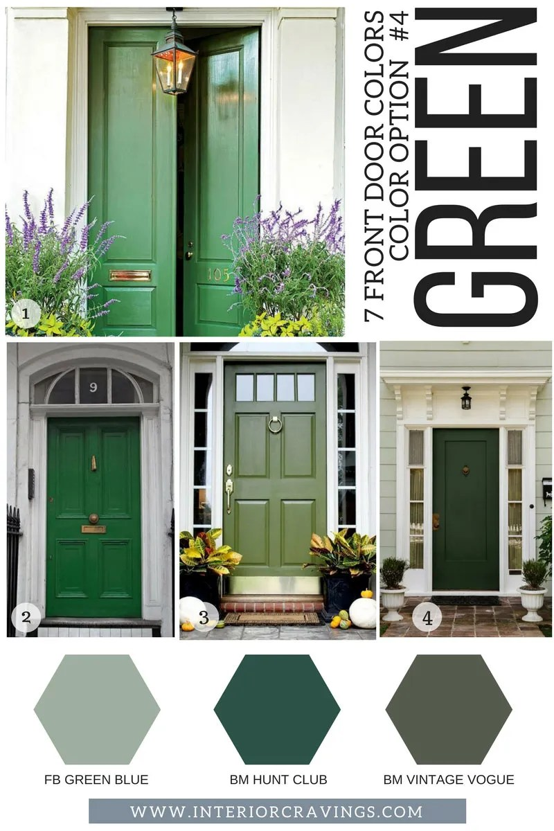 7 FRONT DOOR COLORS - green front doors inspiration and green paint codes and paint swatches