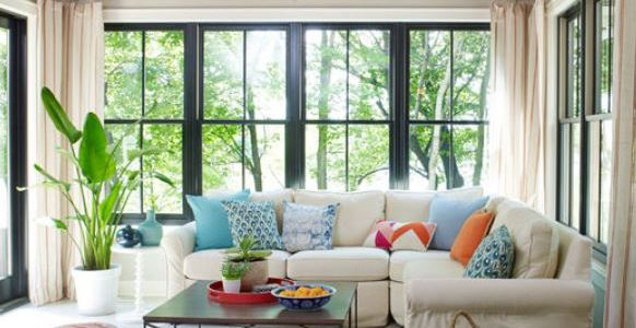 open living room with glass walls