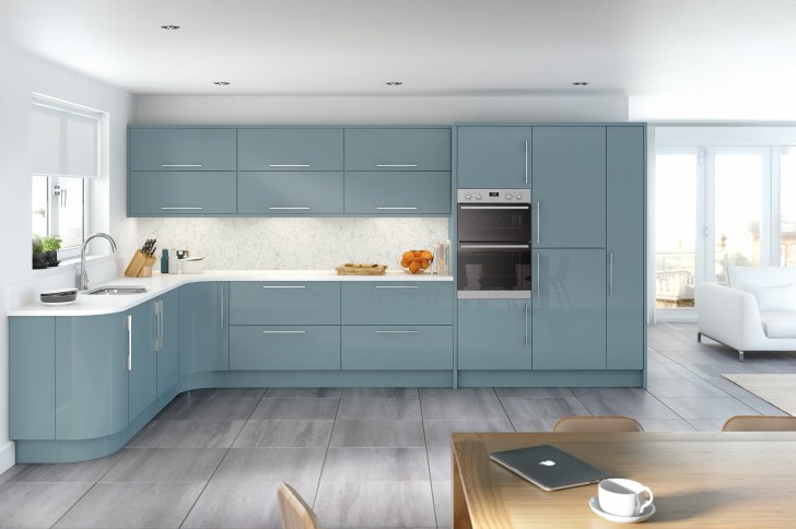 Glacier High Gloss Metallic Blue Kitchen Interior Designs North East