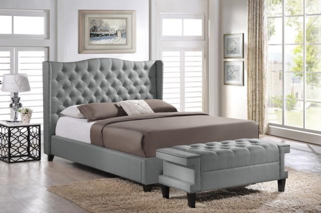 Baxton Studio Norwich Grey Linen Modern Bedroom Set ...