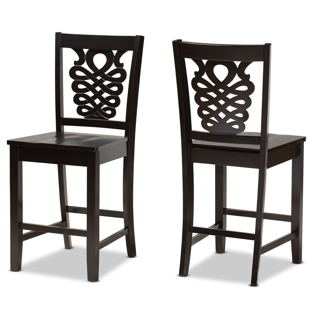 baxton studio gervais modern and contemporary transitional dark brown finished wood 2 piece counter stool set