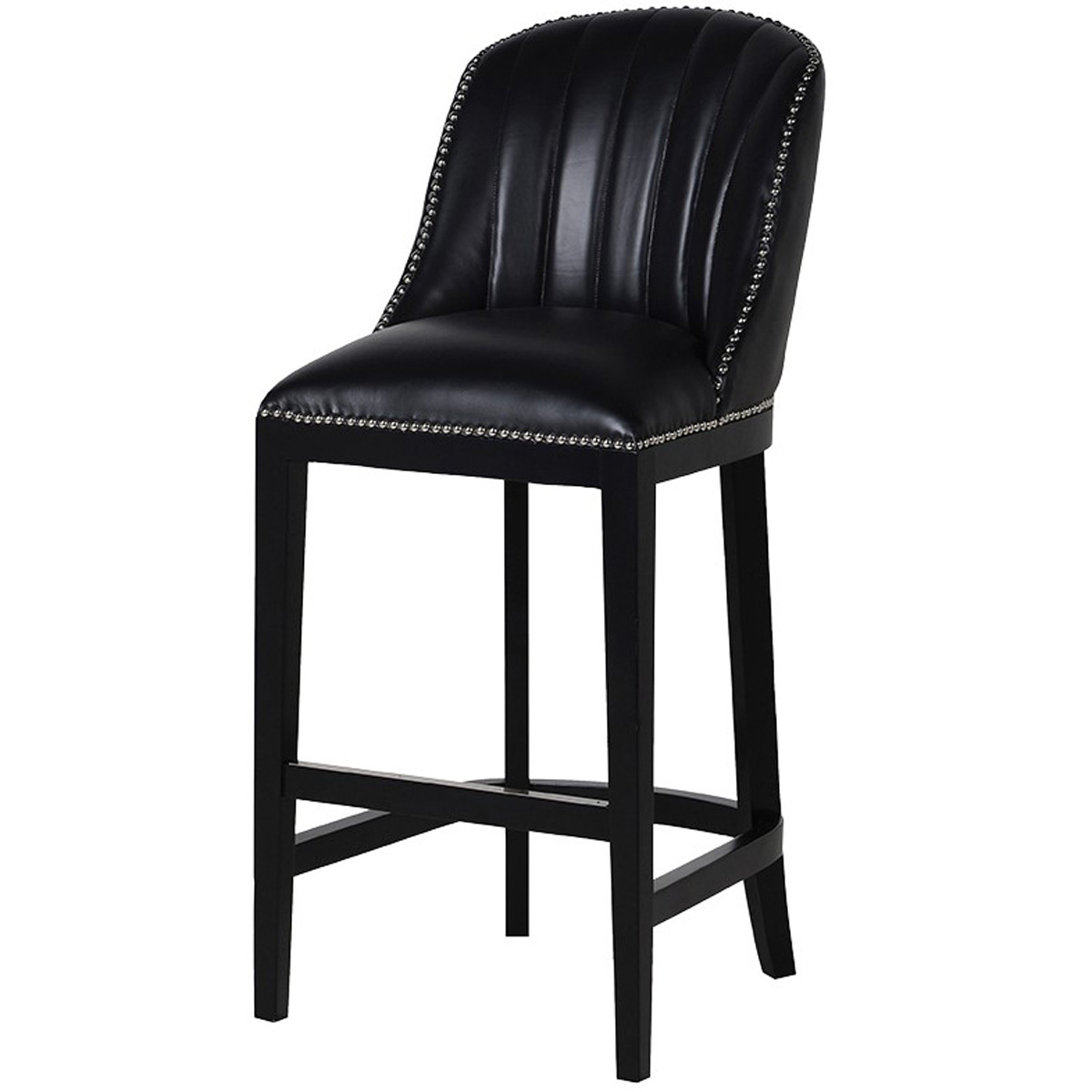 Upholstered Black Leather Bar Stool Interior Flair