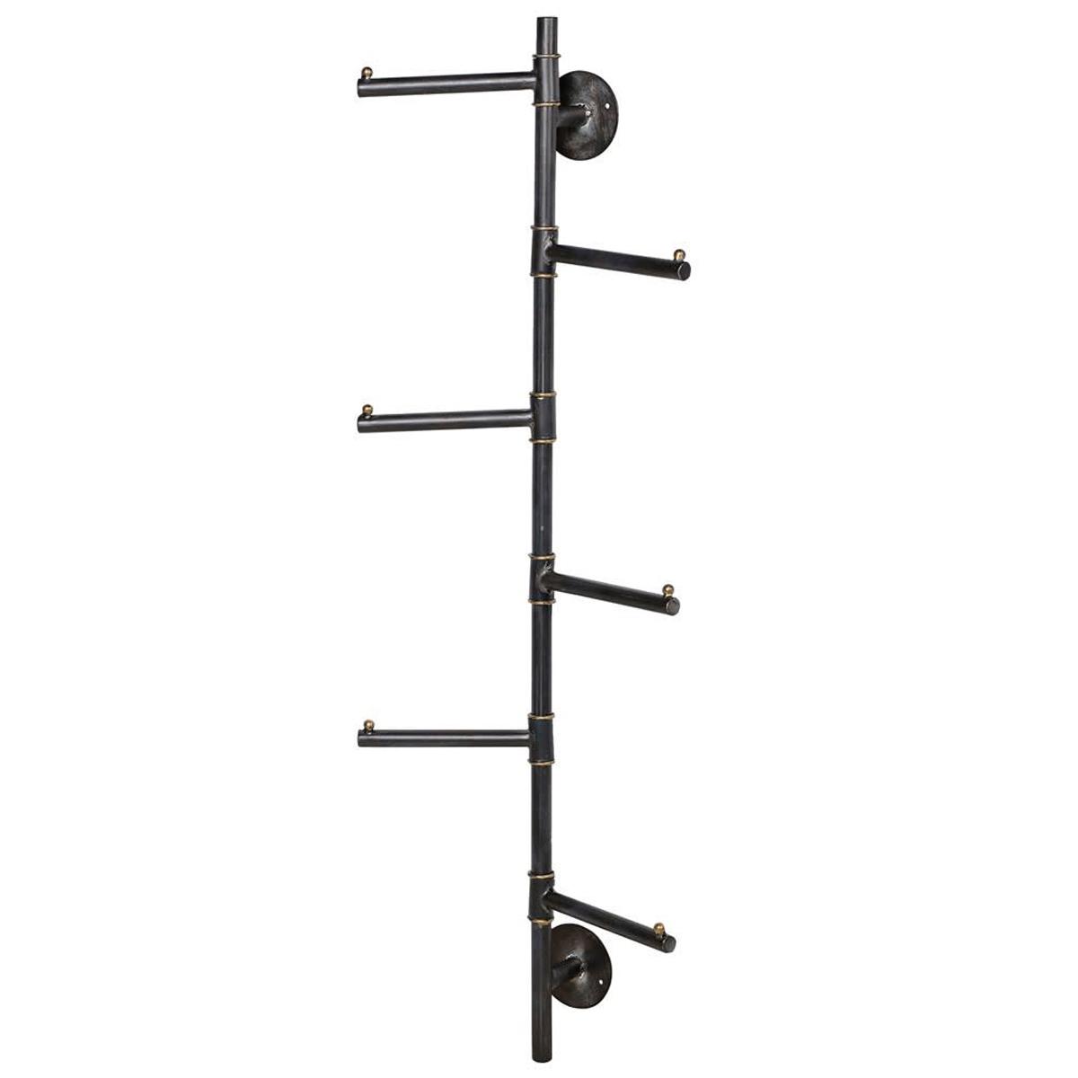 vertical grey metal coat rack