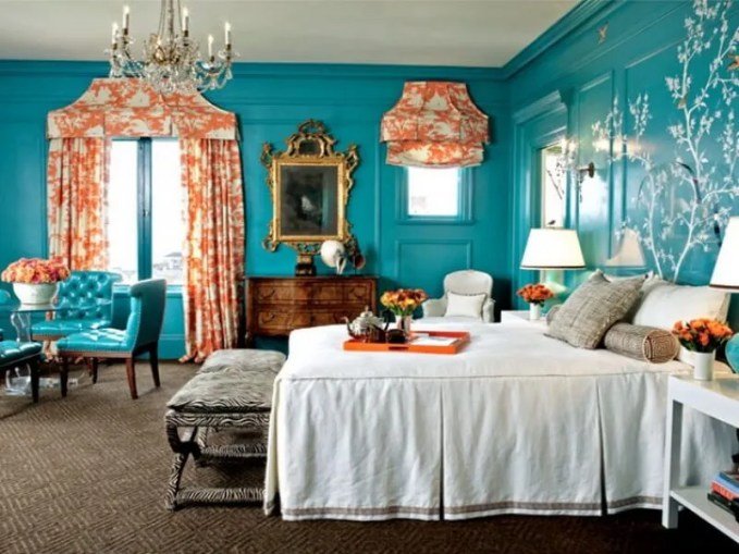 turquoise-bedroom-interior-design-ideas-with-white-and-orange-accent