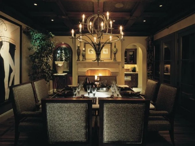Beautiful-Elegant-Furniture-Design-Dining-Room-With-Fireplace-Antique-Dining-Room-Chandeliers-With-Classical-Touch-Combined