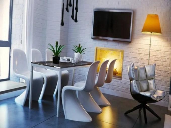Black-white-yellow-dining-room-665x374