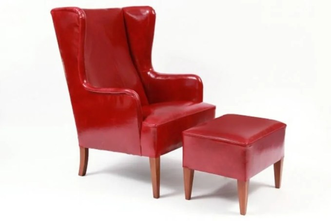 Red Leathered Long Wingback Chair
