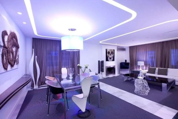 Sleek Purple Living Room
