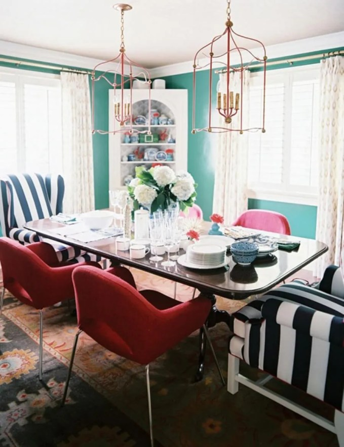 Turqouise Eclectic Dining Room