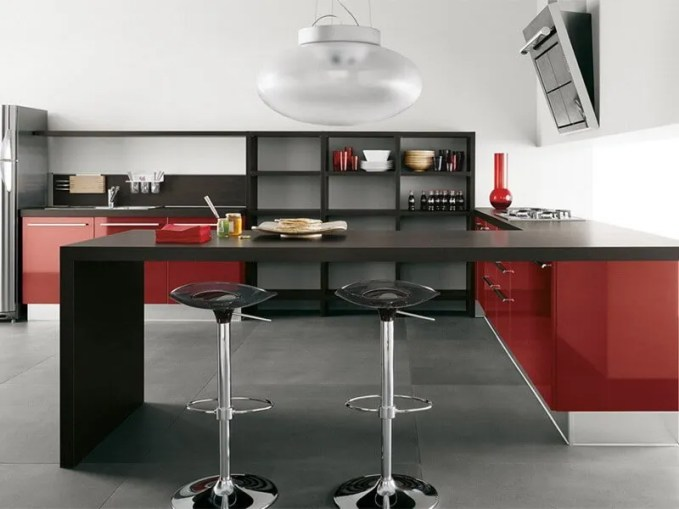 peaceful-red-gloss-kitchen-design