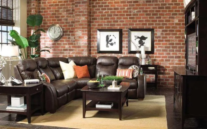 Casual Living Room with Brick Walls