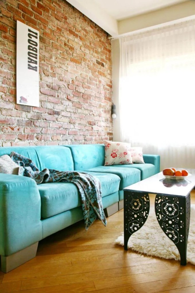 Charming Living Room with Brick Walls