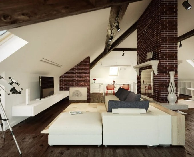 Contemporary Living Room with Brick Walls