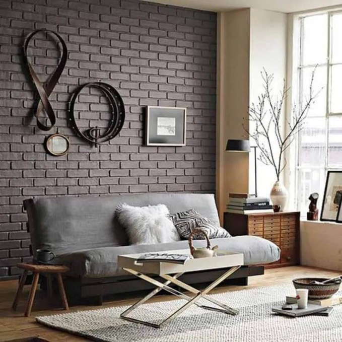 Cool Living Room with Gray Brick Walls