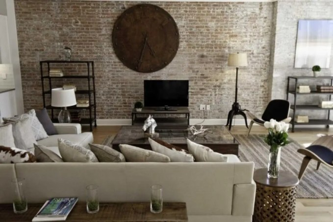 Shabby Chic Living Room with Brick Walls