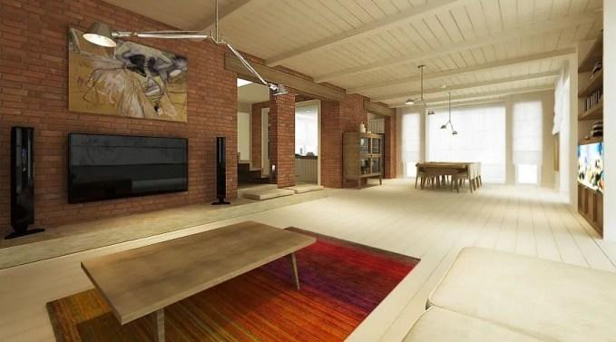 Sleek Living Room with Brick Walls