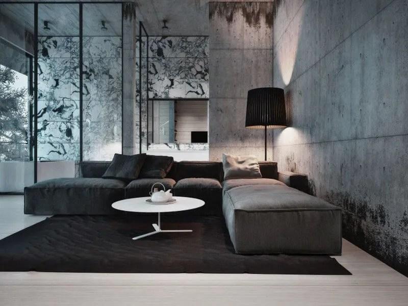 10 Amazing Living Room Interior Design Ideas With Concrete Walls - concrete walls design ideas