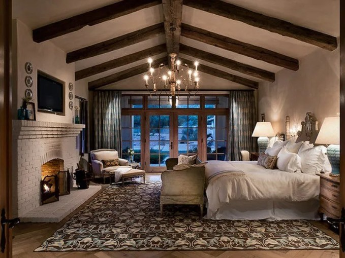 mediterranean-bedroom-with-french-country-bedroom-furniture-like-double-bed-with-elegant-headboard-also-white-sheet-and-pillowcase-also-beautiful-french-country-chandelier-also-conventional-bric