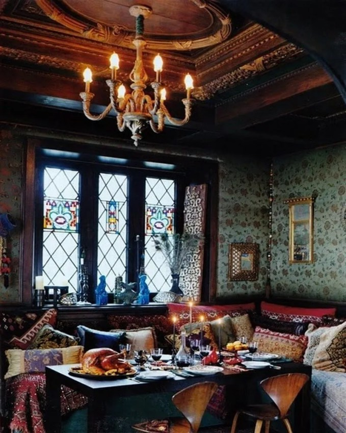 33-Wonderful-Moroccan-Dining-Room-Designs-with-green-wall-big-window-and-chandelier-and-wooden-dining-table-pillow-sofa-and-chair-and-hardwood-floor