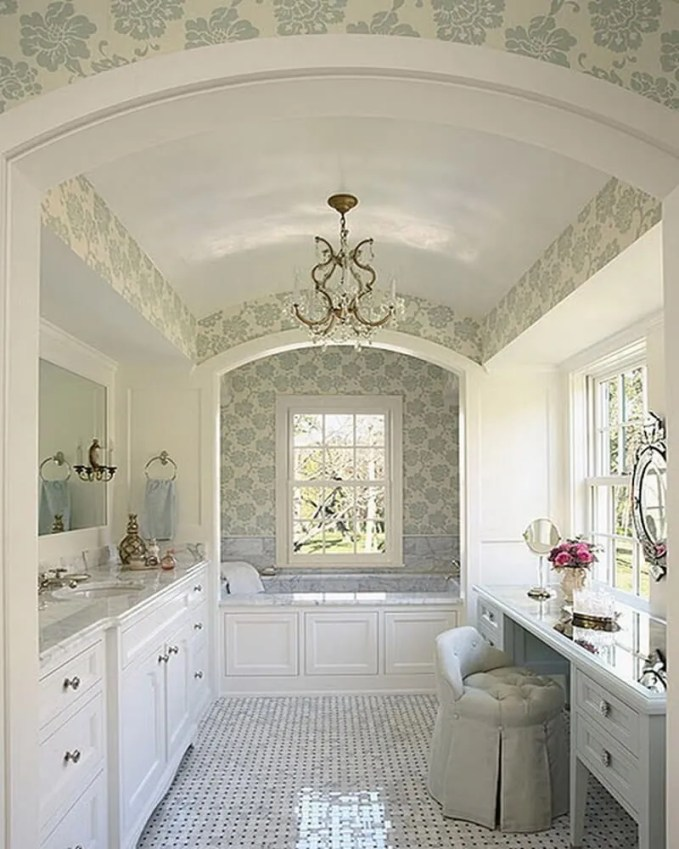Beautiful-Feminine-Bathroom-with-Elegant-White-Cabinets-and-Floral-Wallpaper