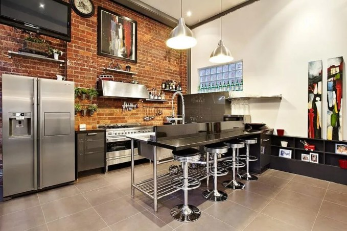 Cool Kitchen With brick Walls
