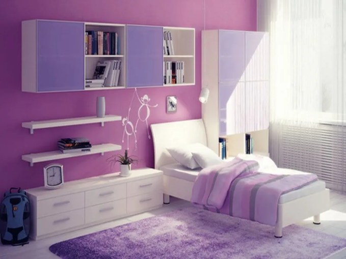Exquisit-minimalist-and-good-room-ideas-for-teenage-girls-deasign-with-lovely-bed-with-quilt-also-white-cabinets-chest-of-drawers-also-cool-bookcase-and-purple-fur-rug-ideas