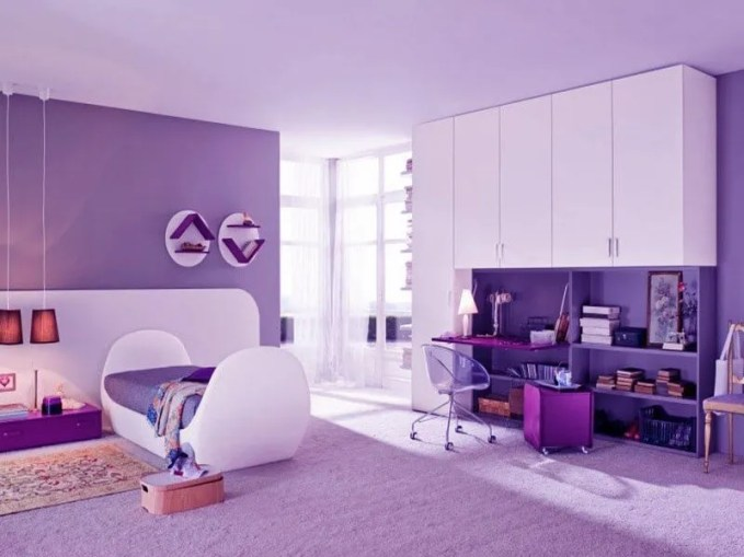 Foxy-room-color-ideas-for-teenage-girls-with-Cute-violet-bed-and-modern-small-office-desk-with-gigantic-white-closet-design-ideas
