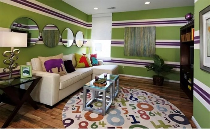 Green and Purple Striped Living Room