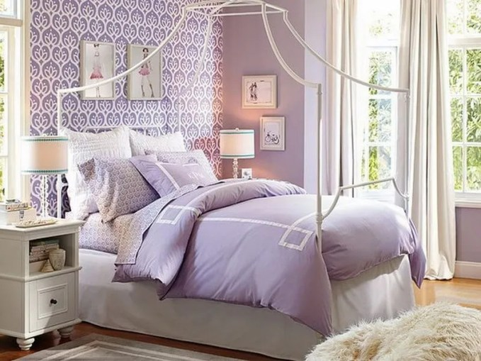 Purple-Girls-Bedroom-Decoratinig-Ideas-with-Wallpaper-Decor
