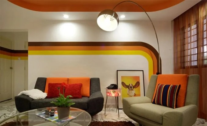 Retro Living Room with Striped Walls