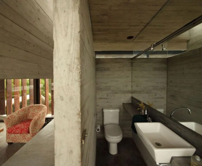 Rustic Bathroom with Concrete Wall