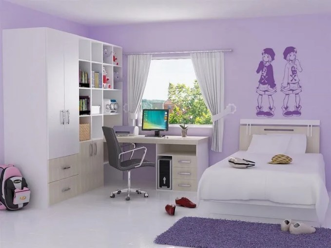 Soft-Violet-Girl-Bedroom-Home-Design-And-Ideas-Inspiration-Violet-
