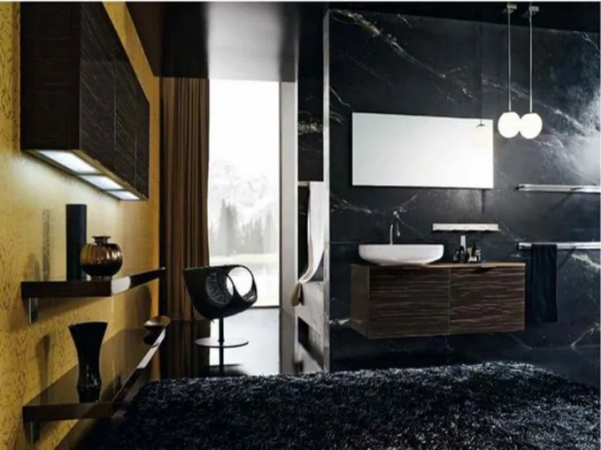 the contrasting character of darkand light color adds elegance and sophistication to this room