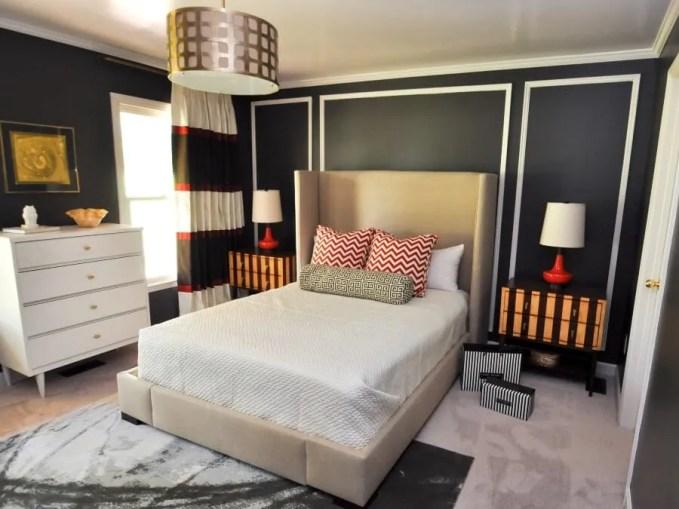 Black Eclectic Bedroom