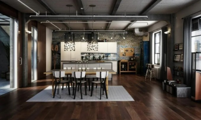 Cool-Superhero-Inspired-Apartment-Designs-With-industrial-dining-room-and-open-plan-kitchen-design-915x546
