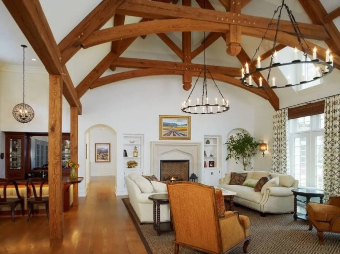 Elegant Living Room with Exposed Beams