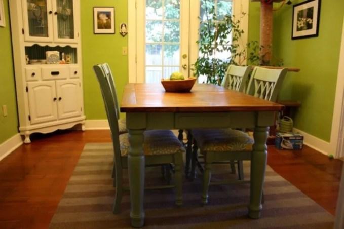 Rustic Look Green Dining Room