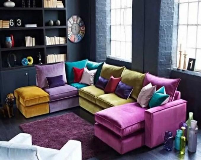Vivid multi-coloured sectional in jewel tones