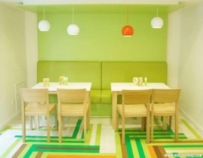 amazing pop art style green dining room