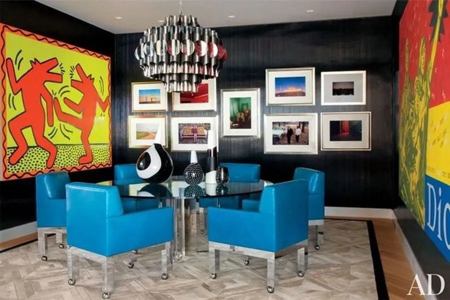 Pop Art Dining Room With Electric Blue Leather Chairs D5738df0a4621ab0393b3df0cd78f5e7
